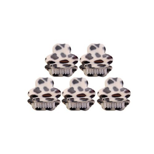 [Set Of 5] Fashion Cute Leopard Mini Fringe Clip Hair Styling Claws, WHITE Bear