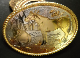 Horses in a Forest Scene Belt Buckle Gold and Silver Color Metal Rope Bo... - $7.99