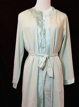 Vtg SEARS 3 pc Satin Lounge Pajamas Robe Butterfly Asian Mandarin Blue 3... - $58.41