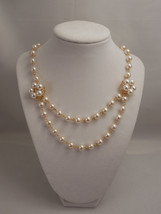 Very Gorgeous, 8mm Cream Glass Pearl Chain Necklace with Flower Pendants - $53.00