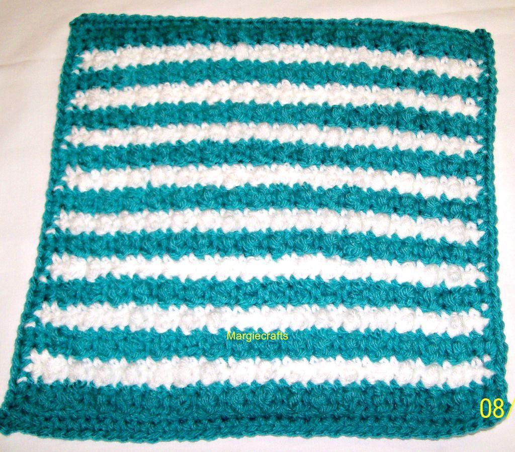 Crochet Dishcloth, Handmade Dishrag, Washcloth, Facecloth, Aqua, White