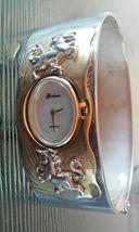 Vintage Gorham Unicorn Two Tone Hinged Bangle Bracelet Wrist Watch in Box RARE F image 3