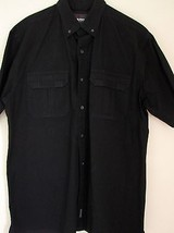 Woolrich Shirt Large Black Short Sleeve Hidden Zipper Button Down L Vent... - $39.99