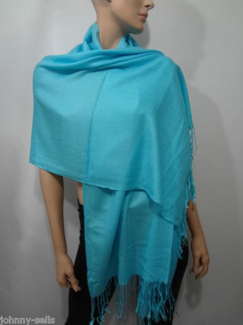 Pashmina Beige Long Fringed Wrap Shawl Scarf 28 x 70 inches NEW FREE SHIPPING