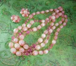 PINK Lisner Necklace UNUSUAL stripe beads with matching cluster clip on earrings - $55.00