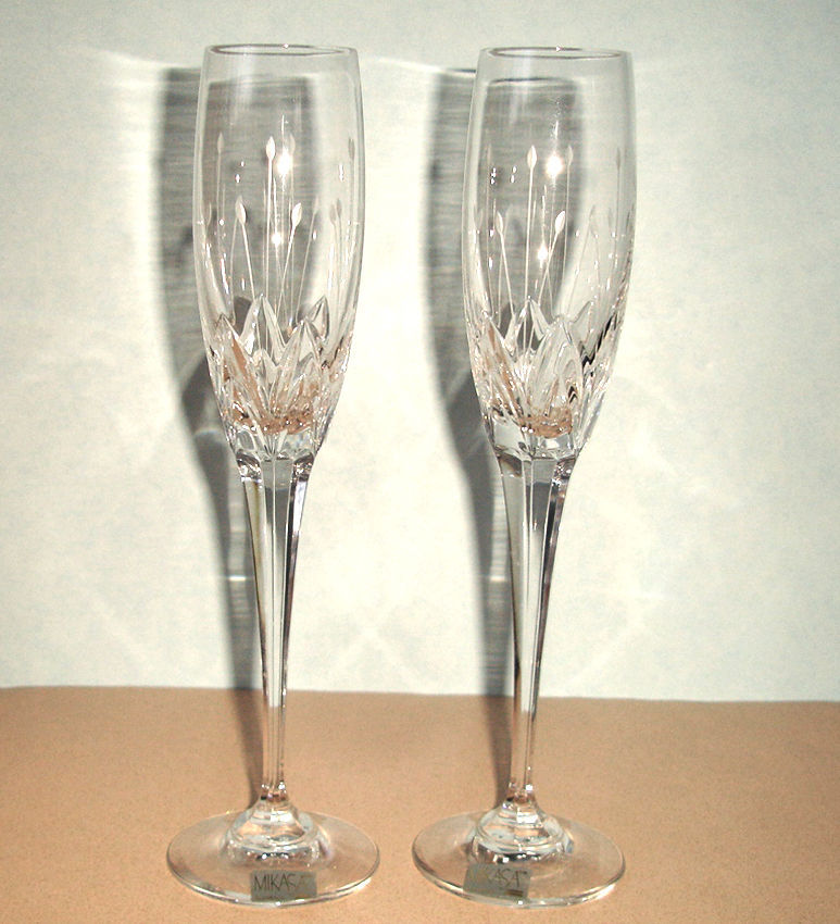 Mikasa crystal petit points champagne flute s set of 2 mikasa - Petite flute a champagne ...
