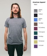 American Apparel Tri Blend T Shirt TR401 Vintage Style Track Tee Shirt 9... - $8.38+