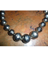 Mexican Vintage Faux Silver Faceted Bead Necklace - $18.00