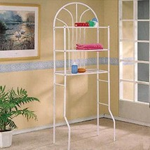 White Finish Over The Toilet Metal Space Saver Bathroom Rack - Free Ship... - $54.40