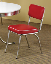 Set of 4 - Retro 50s Style Chrome Chairs Red & White Color Vinyl Free Shipping - $267.30