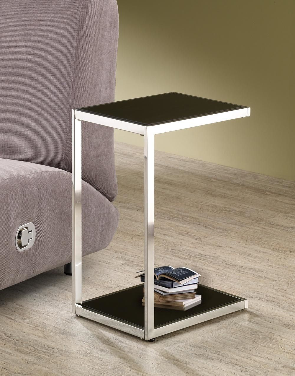 Primary image for Chrome Metal Snack Table - Reversible Black & White Shelves - Foolproof Assembly