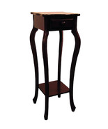 Dark Brown Cherry Finish Plant Stand Phone Table with One Drawer and Low... - $62.40