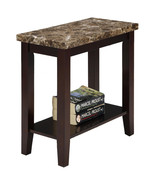 Marble Style Wood Chair Side End Table with Shelf in Espresso Finish - $81.60