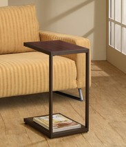 Dark Brown Metal Snack Table - Faux Wood Top & Bottom Shelf - Foolproof ... - $64.35