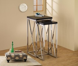 """Modern Style 2 Piece Chrome Nesting Side Table Set with Gloss Black Top 29"""" Tall - $118.69"""
