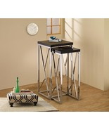 Modern Style 2 Piece Chrome Nesting Side Table Set with Gloss Black Top ... - $118.69