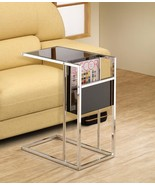 Black and Chrome Chairside Accent Table with a built-in side Magazine Rack. - $78.21