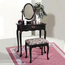 Queen Anne Style Dark Cherry Vanity With Floral Design Bench - Free Ship... - £108.56 GBP