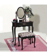 Queen Anne Style Dark Cherry Vanity With Floral Design Bench - Free Ship... - $143.04