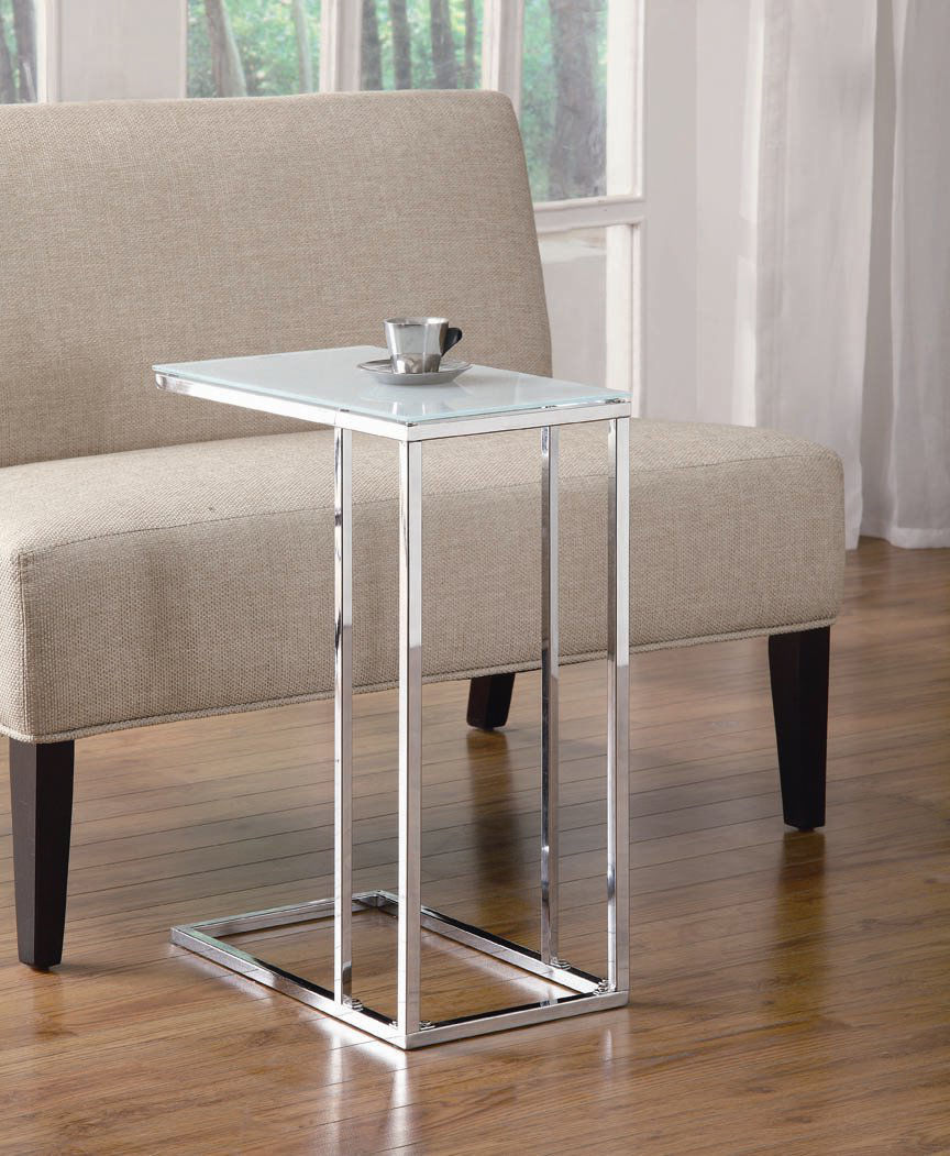 Primary image for Stylish Chrome and Frosted Glass Snack Table - Foolproof Assembly