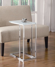 Stylish Chrome and Frosted Glass Snack Table - Foolproof Assembly - $54.45