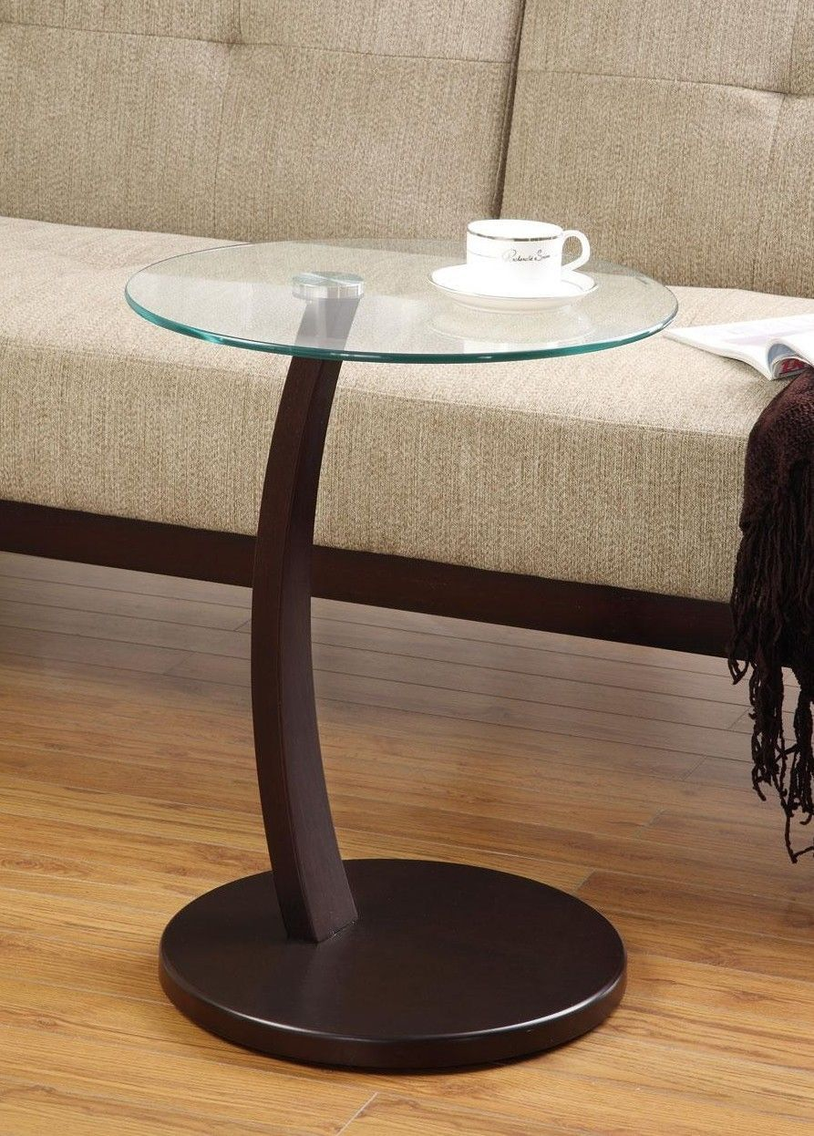 Primary image for Round Accent Table w/ Glass Top and Cappuccino Base Free Shipping Easy Assembly