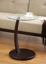 Round Accent Table w/ Glass Top and Cappuccino Base Free Shipping Easy Assembly - $64.24