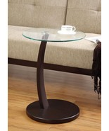 Round Accent Table w/ Glass Top and Cappuccino Base Free Shipping Easy A... - $64.24