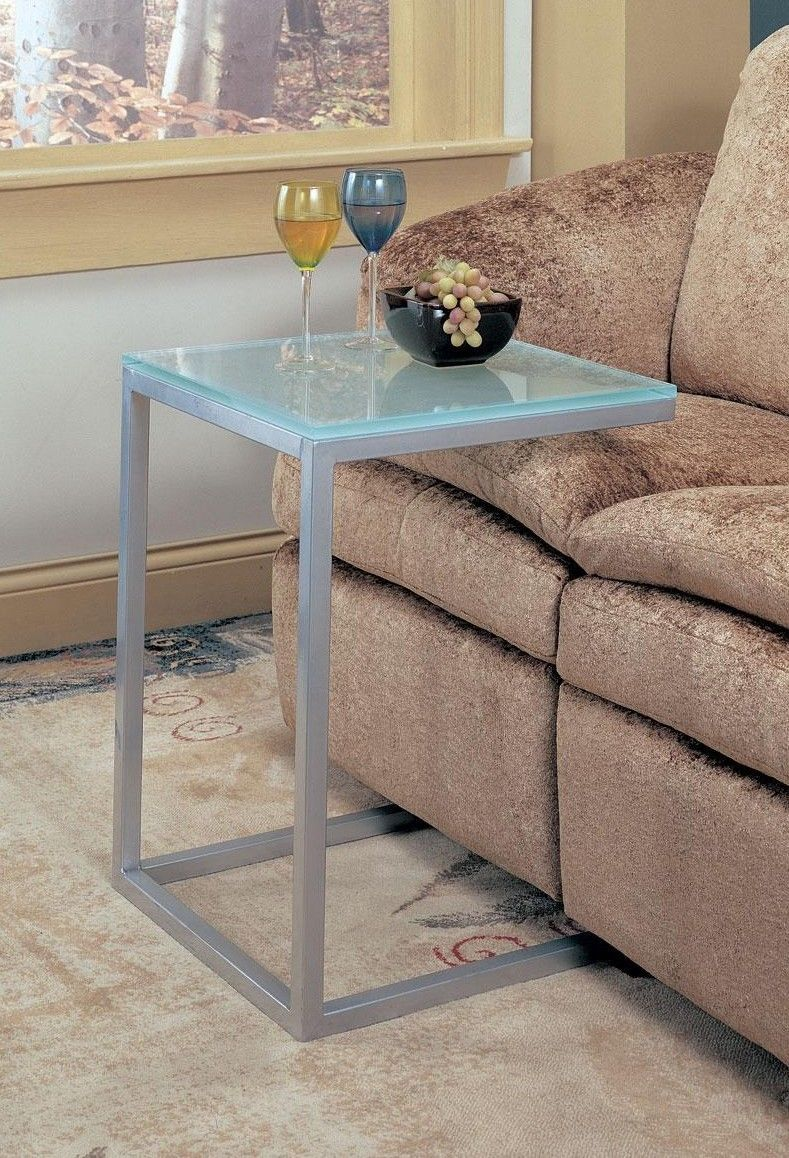 Primary image for Frosted Glass Accent Table Snack Table Pewter Finish Metal Base - Free Shipping