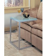 Frosted Glass Accent Table Snack Table Pewter Finish Metal Base - Free S... - $85.44