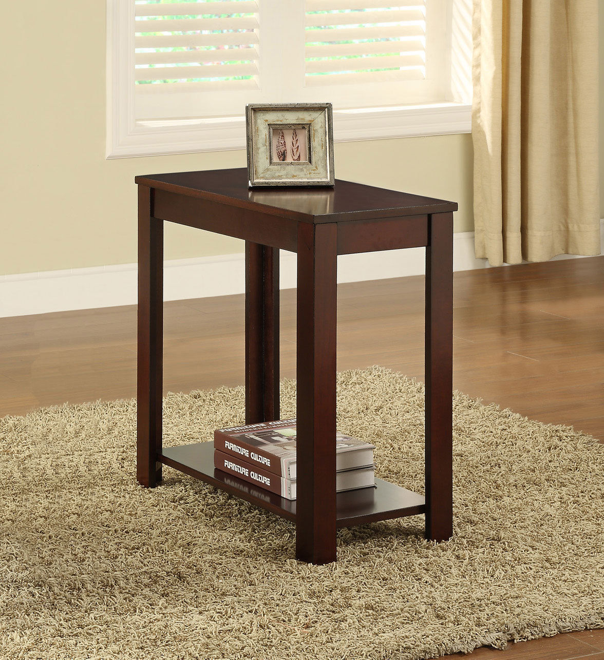 Primary image for Warm Cherry Finish Accent Chairside Table with Shelf- Free shipping