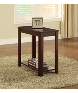 Warm Cherry Finish Accent Chairside Table with Shelf- Free shipping - $62.40