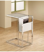 Chrome and White Glass Chairside Accent Table with a built-in side Magaz... - $78.21