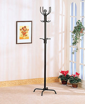 Contemporary Style Black finished metal coat rack with umbrella holder - $34.55