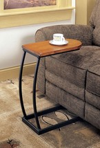 Distressed Oak Accent Table Snack Table With a Satin Black Base - Free Shipping - $68.31