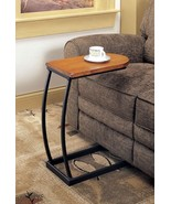 Distressed Oak Accent Table Snack Table With a Satin Black Base - Free S... - $68.31