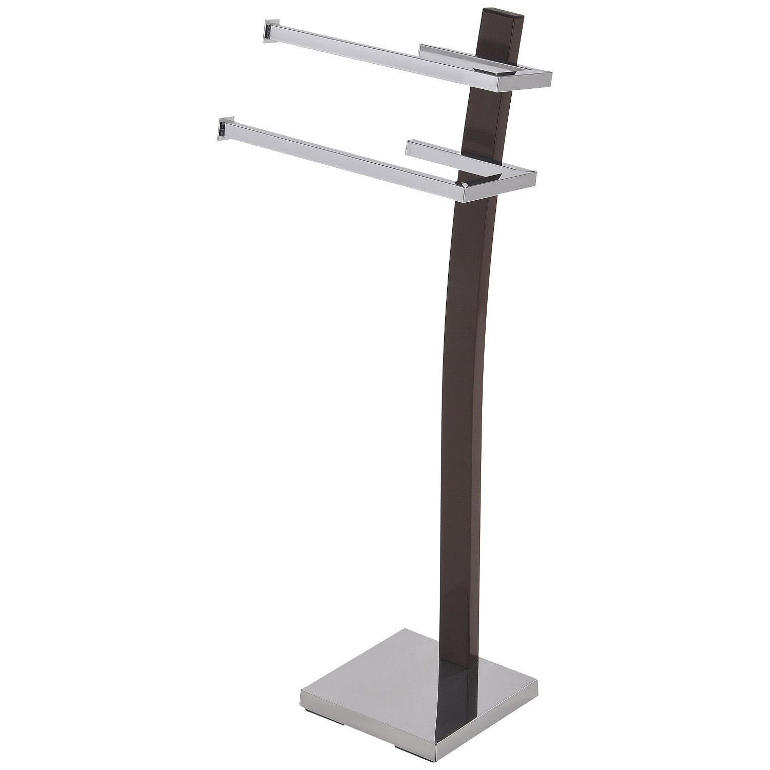 Primary image for Modern Design Dark Brown and Chrome Metal Hand Towel Holder Rack