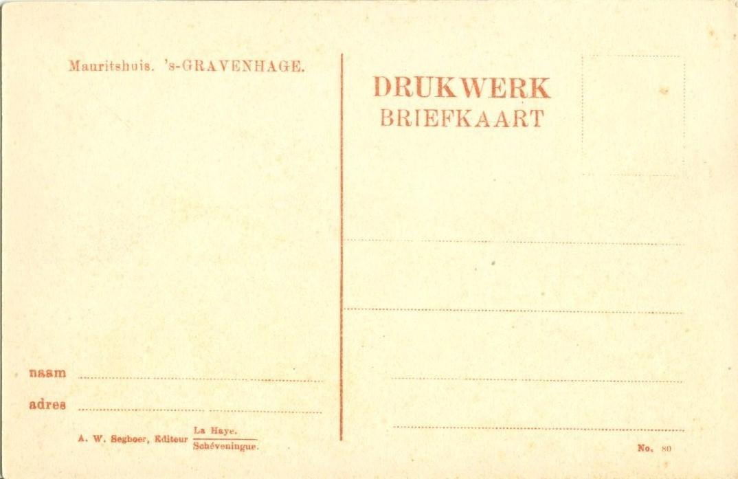Holland, Netherlands, Mauritshuis Gravenhage, early 1900s unused Postcard