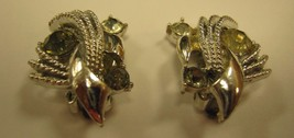 MARKED CORO SILVER COLORED CLIP EARRINGS WITH 3 RHINESTONES - $4.94