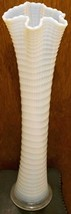 "RARE White Opalescent Ribbed Spiral Model Flint Glass Funeral Vase Over 21"" - $599.95"