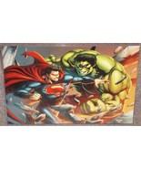 Incredible Hulk vs Superman Glossy Print 11 x 17 In Hard Plastic Sleeve - $24.99