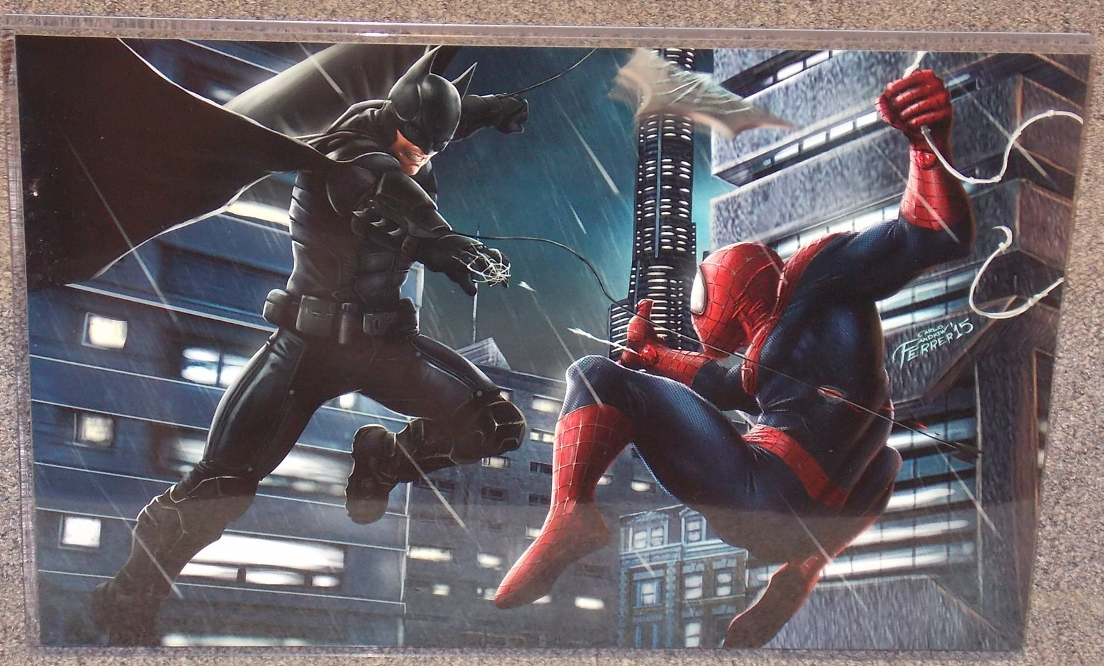 Primary image for Spider-Man vs Batman Glossy Print 11 x 17 In Hard Plastic Sleeve