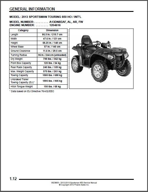 2012-2013 Polaris Sportsman XP 850 HO EPS Touring Service Repair Manual CD