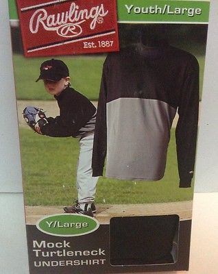 Rawlings Pro Dry Mock Turtleneck Undershirt Youth Sz L NWT Black Gray Lg Sleeved