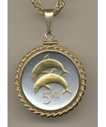 "Iceland 5 kronur ""2 Dolphins""  gold on silver coin pendant necklace - $120.00"