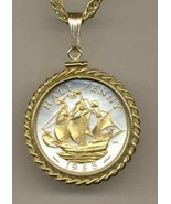 "British ½ penny ""Sailing ship""  gold on silver coin pendant necklace - $127.00"