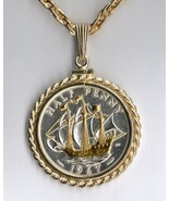 "British ½ penny ' Sailing ship"" coin pendant & 14k necklace - $131.00"