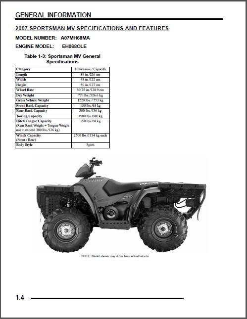 2007 Polaris Sportsman 700 MV ATV Service Repair Manual CD
