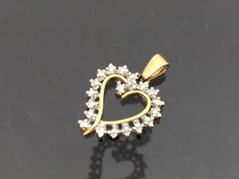 Vintage Sterling Silver Two Tone Heart Charm Pendant - $7.00