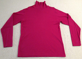 Lands' End Magenta Pink Turtle Neck Women's Size Medium (10-12) 100% Cotton - $29.99